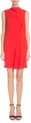 Victoria Beckham High-Neck Sleeveless Side-Drape Tunic Dress
