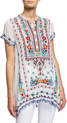 Johnny Was Plus Size Liesse Short-Sleeve Embroidered Georgette Easy Tunic