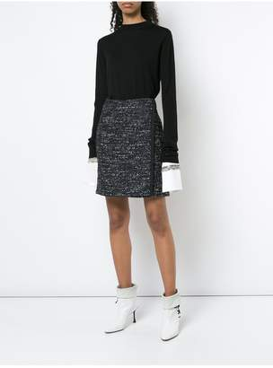 ADAM by Adam Lippes Cotton Tweed Wrap Mini Skirt