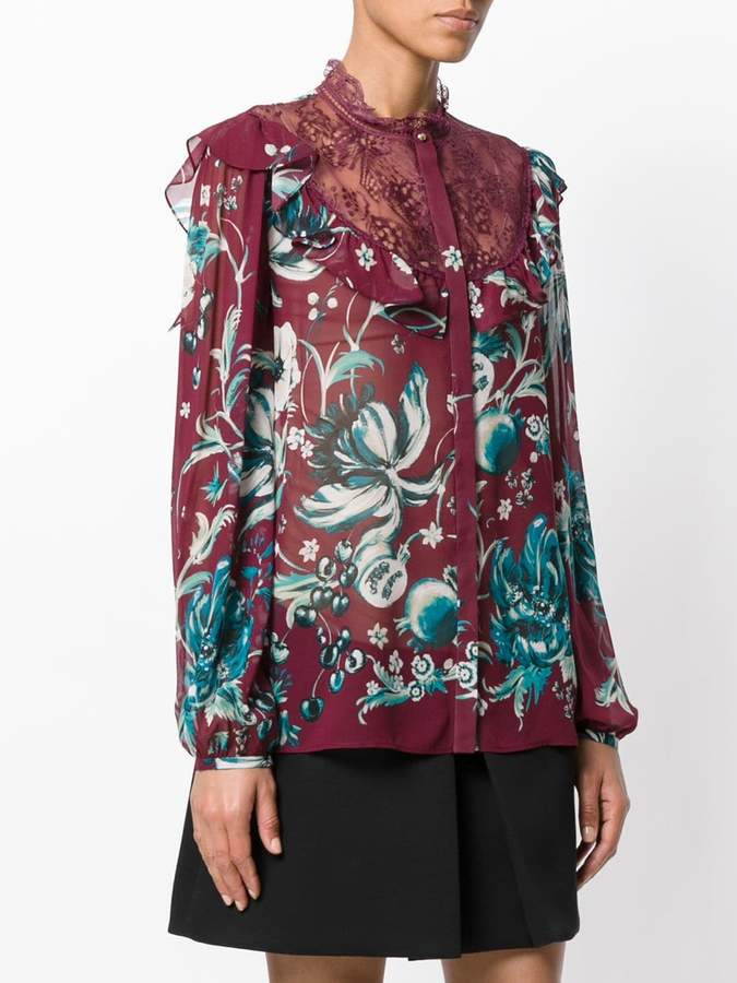 Roberto Cavalli floral embroidered blouse