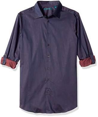 Perry Ellis Men's Big and Tall Roll Sleeve Jadquard Print Shirt