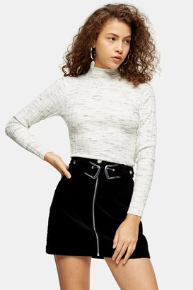 Topshop Womens Petite Knitted Marl Funnel Neck Top - Grey Marl