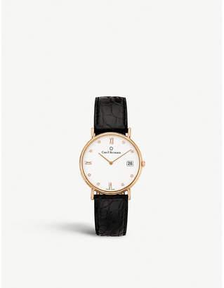Rosegold CARL F BUCHERER 00.10301.03.27.01 Adamavi rose-gold and leather watch