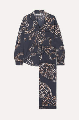 Desmond & Dempsey Printed Cotton-voile Pajama Set - Navy