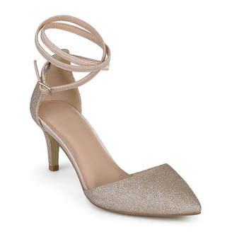 Journee Collection Womens Luela Pumps Buckle Pointed Toe Stiletto Heel