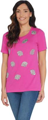 Factory Quacker Short Sleeve Knit T-Shirt with Silver Beaded Motif