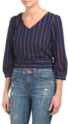 Juniors Striped Tie Back Woven Top
