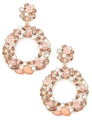 Forever 21 Rhinestone & Floral Drop Hoop Earrings