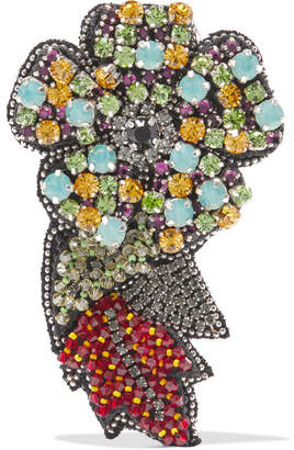 Etro Silk-chiffon, Crystal And Bead Brooch - Yellow