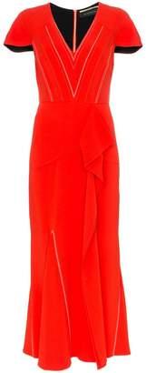 Roland Mouret Bates stretch V-neck ruffle detail dress