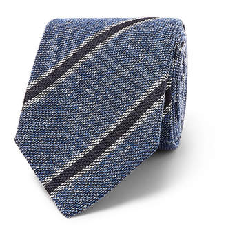 Drakes Drake's 8cm Striped Silk, Linen And Wool-Blend Tie