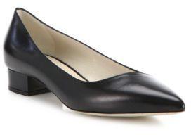 Giorgio Armani Asymmetrical Leather Block Heel Ballet Flats $595 thestylecure.com