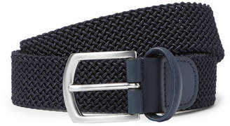 Andersons Anderson's - 3.5cm Navy Leather-Trimmed Woven Elastic Belt - Navy