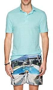 Napoleonerba Men's Slub Linen Polo Shirt - Turquoise