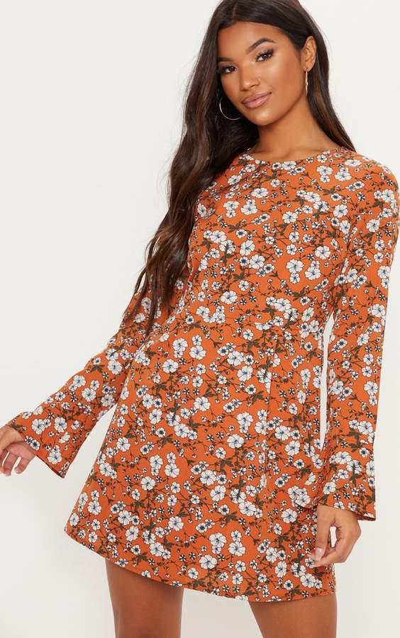 Burnt Orange Floral Print Frill Sleeve Tea Dress