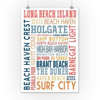 Long Beach Island, New Jersey - Typography (white) - Lantern Press Artwork (12x18 Art Print, Wall Decor Travel Poster)