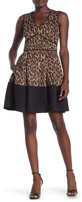 Taylor Animal Printed Fit and Flare Dress