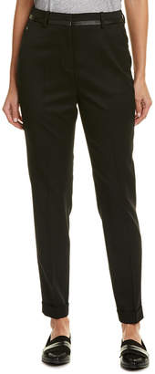 The Kooples Leather-Trim Wool-Blend Trouser