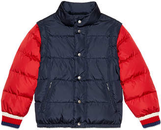 Gucci Quilted Vintage Logo Puffer Jacket w/ Zip-Off Sleeves, Size 4-10