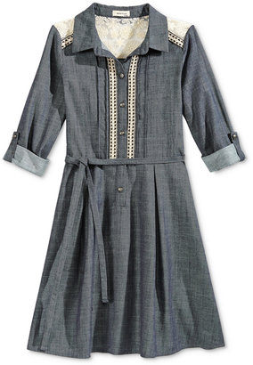 Monteau Girls' Chambray Shirtdress with Lace Detail $56 thestylecure.com