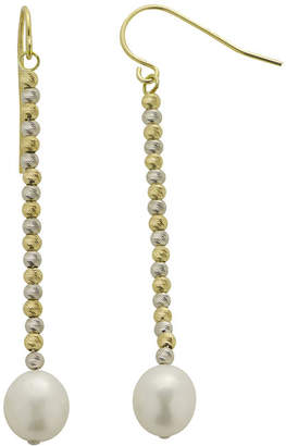 Brilliance+ FINE JEWELRY Cultured Freshwater Rice Pearl & 2-Tone Brilliance Bead Drop Earrings