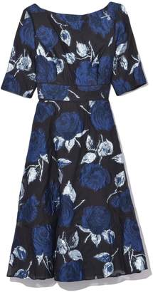 Lela Rose Elbow Sleeve Full Skirt Dress in Navy/Black