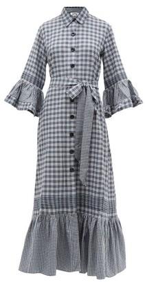 Evi Grintela Valerie Ruffled Checked Cotton Blend Shirtdress - Womens - Blue White