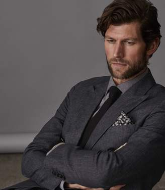 Reiss Leach B - Slim Fit Double Breasted Blazer in Charcoal