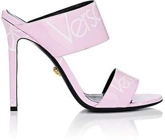 Versace Women's Logo-Print Patent Leather Mules - Pink