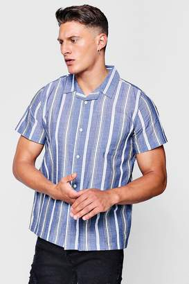 boohoo Revere Collar Short Sleeve Shirt In Stripe