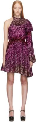 Halpern Pink Degrade Sequin Single-Shoulder Dress