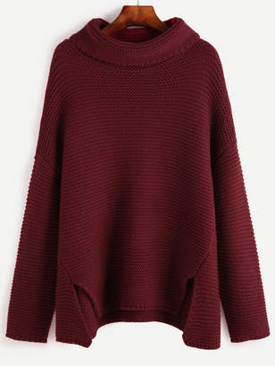 Shein Red Turtleneck Drop Shoulder Slit Front Sweater