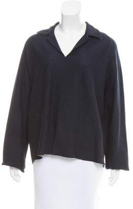Shamask Notch-Collar Long Sleeve Top