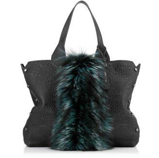 Jimmy Choo LOCKETT SHOPPER Black Grainy Leather Tote Bag with Bottle Green Fox Fur