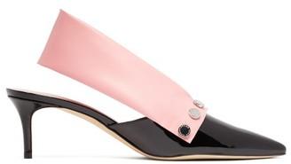Christopher Kane Latex Strap Patent Leather Slingback Pumps - Womens - Black Pink