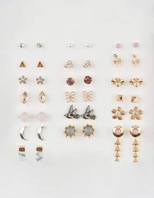 Full Tilt 20 Pairs Triangle, Flower & Butterfly Stud Earrings