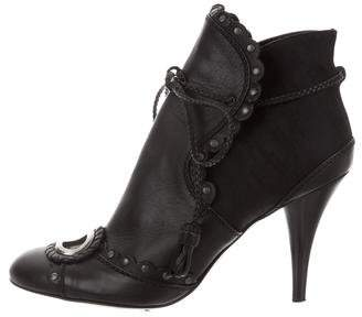 Christian Dior Scalloped Round-Toe Booties