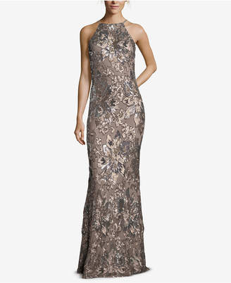 Betsy & Adam Multi-Tone Sequined-Flower Halter Gown