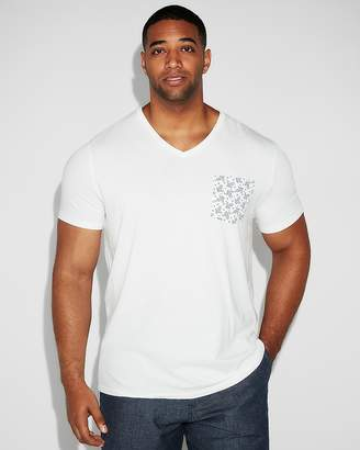 Express Paisley Pocket Cotton V-Neck Tee