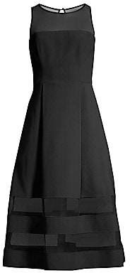 Aidan Mattox Women's Mesh Detail Fit-&-Flare Dress