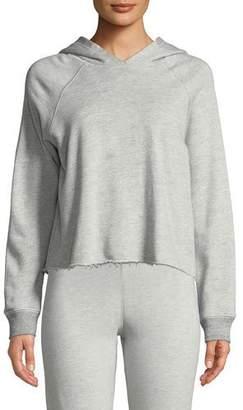 Sundry Cropped Raw-Hem Hooded Sweatshirt