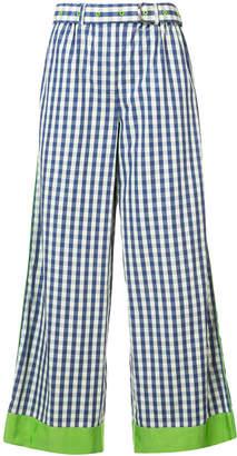 Adam Selman contrast cuff striped wide leg trousers