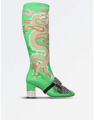 Gucci Ladies Green Candy Dragon Embroidered Satin Knee-High Boots