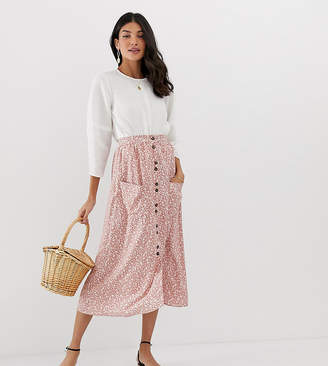 Asos Tall DESIGN Tall button front midi skirt with pockets in brown floral print