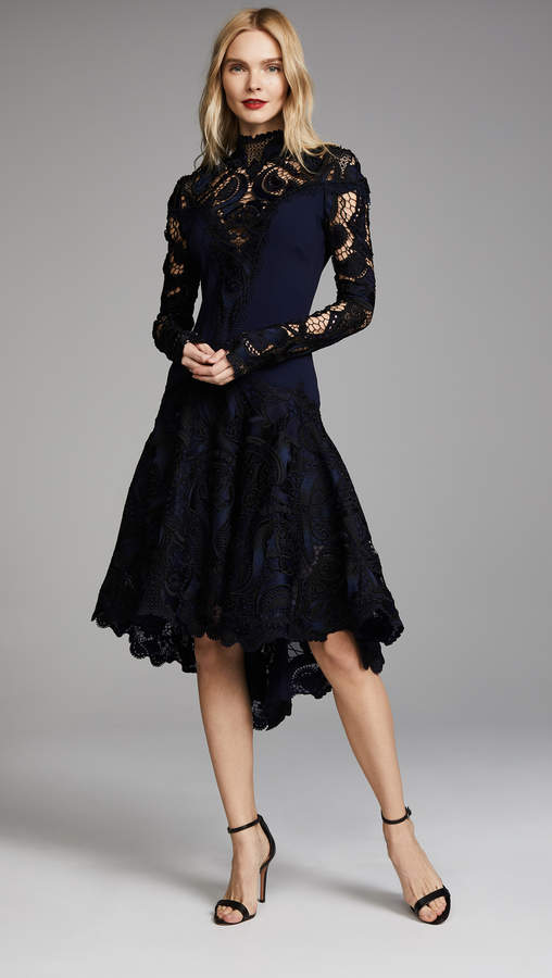 Jonathan Simkhai Crepe Applique Long Sleeve Trumpet Dress