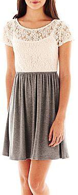 Speechless Lace-Bodice Skater Dress