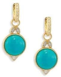 Jude Frances Lisse Diamond, Turquoise& 18K Yellow Gold Round Drop Earrings