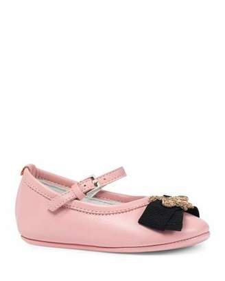 Gucci Leather Ballet Flat w/ Bee, Pink, Infant Sizes 0-12 Months