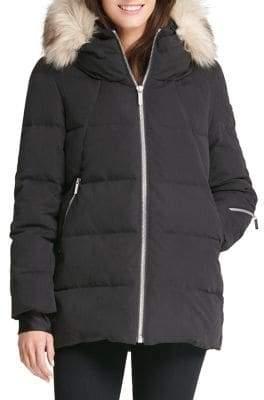 DKNY Faux Fur-Trimmed Down Jacket