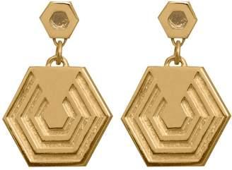 Edge Only - Hexagon Drop Earrings In Gold